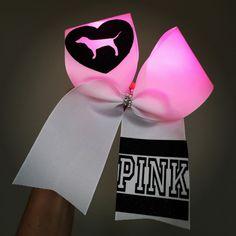 LIGHT UP Pink Dog Cheer Bow Pink lights!