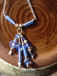 Blue dangle glass bead silver necklace, handmade jewelry, bohemian necklace