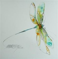 Watercolor dragonfly tattoo idea. Add some pink to this and...wow!
