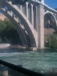 Monroe Bridge Spokane Washington, Little Spokane River at the falls.