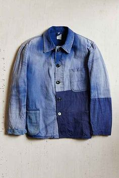 Vintage French Ombre Jacket | Workwear | Patchwork blue indigo | Faded worn repaired | Travail |