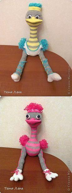 Страус из носков + МК - Игрушки