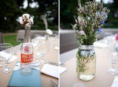 vintage-y pop bottles, raw cotton, wildflowers in mason jars. golly gee!