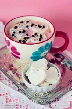Whipped Cream Hearts and Strawberry Hot Cocoa! Wonderful on a COLD DAY. brrr. Pin leads you to Bakindom with the recipes!