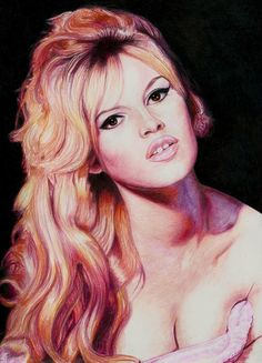 Colour Pencil portrait of Briggitte Bardot Faber Castell Colour classic and polychromos pencils. Background using derwent drawing pencils black and chocolate. Drawn on 160gsm artist sketch paper 21...