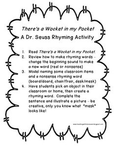 There's a ____ in my ____: A Dr. Seuss Rhyming Activity - pinned by @PediaStaff – Please Visit ht.ly/63sNtfor all our pediatric therapy pins
