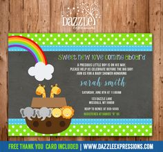 Printable Noah's Ark Chalkboard Baby Shower Invitation | Baby Twins | Neutral | Baby Boy | FREE thank you card included | Party Package Decorations Available | Digital File | www.dazzleexpressions.com