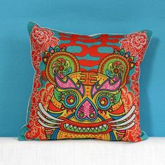 Chinoiserie tiger animal pillows for couch Chinese style sofa cushions cheap