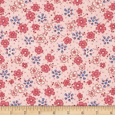 Spring Showers Wildflowers Pink/Blue from @fabricdotcom  Designed by Kaye England and licensed to Wilmington Prints, this cotton print fabric is perfect for quilting, apparel and home decor accents. Colors include blue, cream and shades of pink.