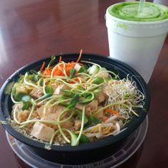 Teeka Salad with Baked Tofu and a green dream juice.