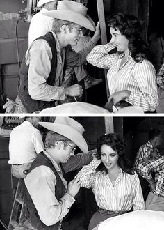 """James Dean and Elizabeth Taylor during the shooting of """"Giant"""", (1956)."""