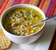 This vegetarian mushroom barley soup made with white mushrooms, vegetables and vegetable broth is so hearty, you can eat it as a meal. Hearty Vegetarian Soup, Vegan Soups, Vegetarian Recipes, Healthy Recipes, Soup Recipes, Whole Food Recipes, Cooking Recipes, Mushroom Barley Soup, Diet