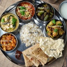 Gujarat -- Mini Thali by Cook's Hideout. This has all the recipes for the curries in the picture and how to assemble this tasty Indian traditional dish.