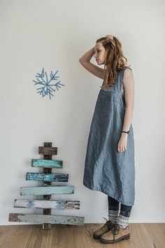 Linen pinafore / Square cross linen apron/ Japanese apron. Washed swedish blue long apron.