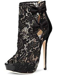 d64e1eb9647d5 Black 4 3 4   High Heel Lace Platform Zipper Bow Peep Toe Fashion Shoes