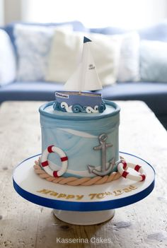Sailing birthday cake with yacht model topper, marbled fondant, sugarpaste rope, anchor & life belts - Birthday Cake Fruit Ideen Anchor Birthday Cakes, 30th Birthday Cakes For Men, Anchor Cakes, Themed Birthday Cakes, Themed Cakes, Beautiful Cakes, Amazing Cakes, Sea Cakes, Pink Cakes