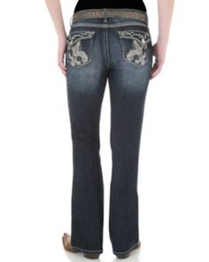 Rock 47™ by Wrangler® Women's Gold Stud and Rhinestone Fleur De Lis Ultra Low Rise Boot Cut Jeans