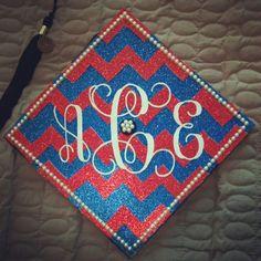 chevron grad caps | DIY College Graduation Cap with Monogram, Chevron, and Pearls!