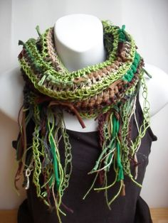 Woodland Vegan Gypsy Scarf in Recycled Cotton Jersey and Hemp Forest Fantasy Autumn Fall Winter Fashion