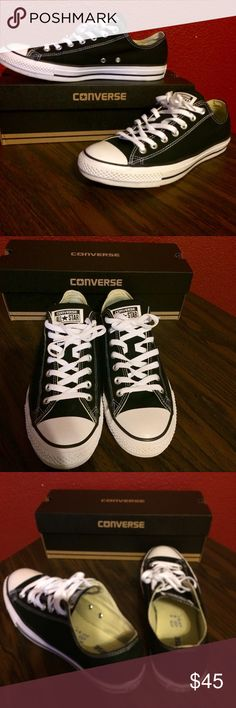 Unisex Black Chuck Taylor Allstars by Converse Worn once for wedding. No scuffs or sign of wear or damage. Men's size 10 Women's size 12. Converse Shoes