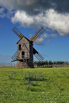 Old wooden windmill on island Saaremaa, Estonia Wooden Windmill, Rural House, Photos For Sale, Beautiful Artwork, Wind Turbine, Countryside, Fine Art America, National Parks, Island