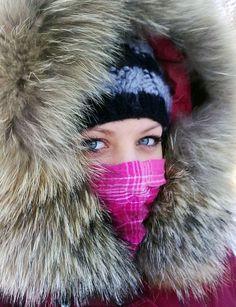 Warm Fox Fur Hood on a Very Cold Day