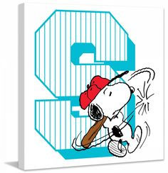 Description: Snoopy takes his turn at the bat in this baseball themed Peanuts canvas art. Printed in front of a large S, this art would look great in a baseball players bedroom. - Peanuts wall art fea