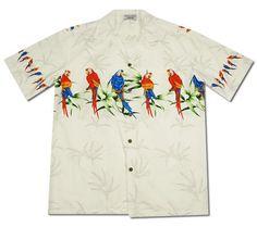 12441769 Macaw White Hawaiian Border Aloha Sport Shirt #hawaiianshirt #alohashirt  #vintagehawaiianshirts #hawaiianshirts #. PapayaSun