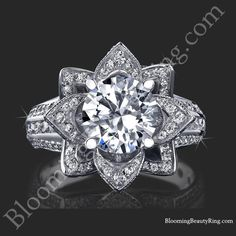 2.08 ctw. Large Hand Engraved Blooming Beauty Flower Ring Wedding Set - Top View Ring Only