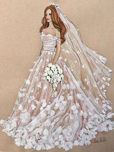 This is an original fashion illustration of an exquisite Marchesa wedding gown. It is painted in a mixed media of watercolors, acrylics and pen & ink, on Natura Fashion Design Sketchbook, Fashion Design Drawings, Fashion Sketches, Art Sketchbook, Wedding Dress Drawings, Wedding Dress Illustrations, Wedding Drawing, Design Illustrations, Wedding Painting