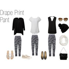 Drape Print Pant by styleright on Polyvore featuring Witchery and Jo Mercer