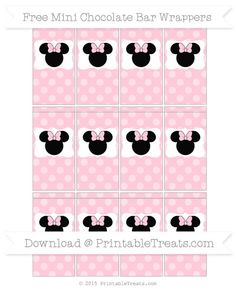 Free Pink Dotted Pattern  Minnie Mouse Mini Chocolate Bar Wrappers