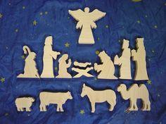 Wooden nativity set 13 piece set