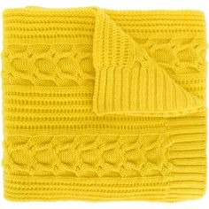 Shop N.peal Wide Cable Knit Scarf in YELLOW & ORANGE at Modalist | ($288) ❤ liked on Polyvore featuring accessories, scarves, cable knit shawl and cable knit scarves