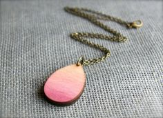 Ombre Jewelry Wood Jewelry  Teardrop Necklace  Teardrop