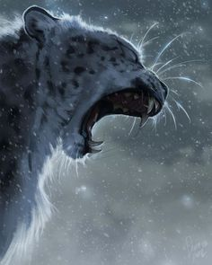 Fun snow leopard piece from a while back. I snapped some fun pics of a snow leopard yawning that inspired this! Fantasy Paintings, Animal Paintings, Animal Drawings, Drawing Animals, Beautiful Cats, Animals Beautiful, Cute Animals, Wild Animals, Baby Animals