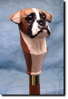 Boxer Natural Dog Walking Stick Our unique selection of handpainted Dog Breed…