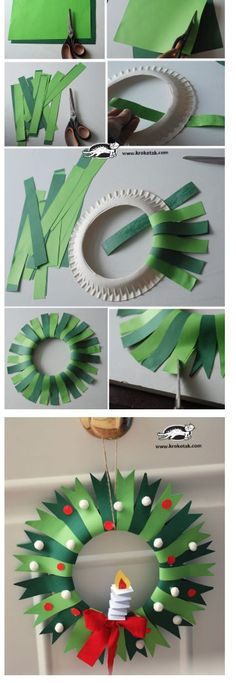 Ideas Diy Paper Wreath Creative For 2019 Christmas Arts And Crafts, Preschool Christmas, Christmas Activities, Christmas Projects, Kids Christmas, Holiday Crafts, Christmas Decorations, Kids Crafts, Winter Crafts For Kids