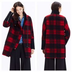 Madewell CITY GRID COAT IN PLAID Madewell CITY GRID COAT IN PLAID.  Brand new with tags still attached.  Price is firm.  Purchased online but jacket does not fit.  Oversized, runs big can fit between 14/16.  update to a timeless cocoon coat, this one is a sleek, sculptural nod to biker style (see: the stand-up collar and zips on the sleeves) while being completely now.   •Alpaca/wool/acrylic/poly/nylon. Madewell Jackets & Coats