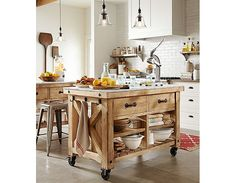 Check Out 33 Beautiful Barn Kitchen Design Ideas. The main decor piece in a barn kitchen is wooden beams which make the space cozy, rustic and sweet. Marble Top Kitchen Island, Kitchen Island On Wheels, Farmhouse Kitchen Island, Kitchen Tops, New Kitchen, Kitchen Trolley, Kitchen Islands, Kitchen Small, Kitchen Rustic
