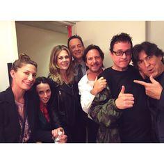 Eddie Vedder with Rita Wilson, Tom Hanks, Cameron Crowe, and friends backstage at @Letterman.  #PearlJam