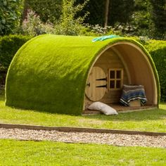 This attractive high quality timber Woodland Cabin is topped with a play lawn surface for a natural look. Tyni House, Tiny House Cabin, Arched Cabin, Build A Playhouse, Hobbit Playhouse, Backyard Trampoline, Wendy House, Unusual Homes, Outdoor Playground