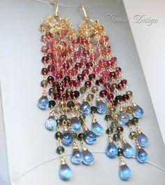 Long 14k goldfillmultigems dangle earrings by vanini on Etsy, $294.00