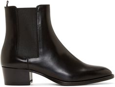 $895, Black Leather Chelsea Boots: Saint Laurent Black Leather Wyatt Chelsea Boots. Sold by SSENSE. Click for more info: https://lookastic.com/women/shop_items/311790/redirect