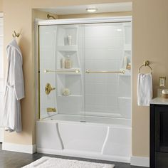 Delta Crestfield 59-3/8 in. x 56-1/2 in. Semi-Framed Sliding Tub Door in White with Brass Hardware and Clear Glass