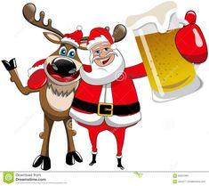 Reindeer Christmas Santa Claus Hug Beer Mug Stock Vector - Image ...