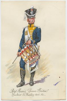 Grand Duchy of Hesse; Erbprinz Regiment of Infantry, Drummer Fusilier Company, 1808-12 by P.A.Leroux