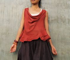 Hailey Blouse...Mix silk earth red