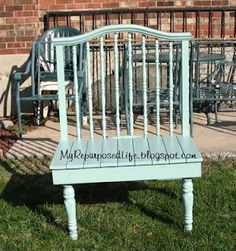 garden bench made out of baby bed