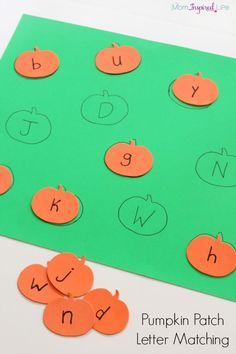 Pumpkin alphabet activity for preschoolers. A fun way to practice letter recognition or upper and lowercase pairs.